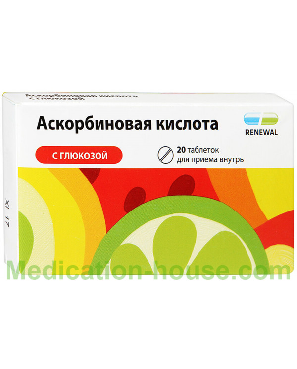 Ascorbic acid with glucose tabs 100mg #20